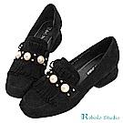 Robinlo 華麗感珍珠流蘇羊絨方頭粗跟鞋 黑