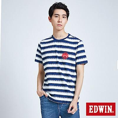 EDWIN 築地系列INDIGO寬條口袋短袖T恤-男-拔洗藍