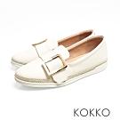 KOKKO - 香格里拉麻繩方扣真皮厚底懶人鞋-奶泡白