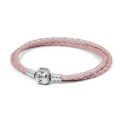 Pandora 潘朵拉 925純銀圓珠開扣式 雙圈皮革皮繩手鍊手環 珠光粉