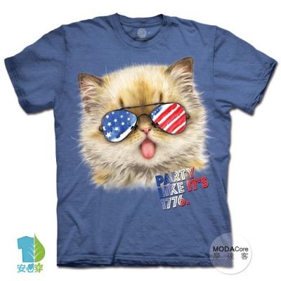 摩達客-美國進口The Mountain 派對貓1776 純棉環保藝術中性短袖T恤(大尺碼4 5XL)