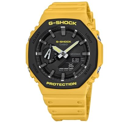 G-SHOCK CASIO 街頭風 八角型 雙顯 防水 橡膠手錶-黃色/45mm
