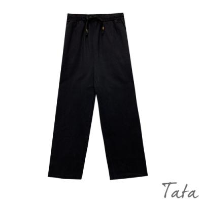 鬆緊腰繫帶單寧寬褲 共二色 TATA-F