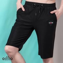 oillio歐洲貴族 舒適透氣修身針織短褲 簡單刺繡 黑色