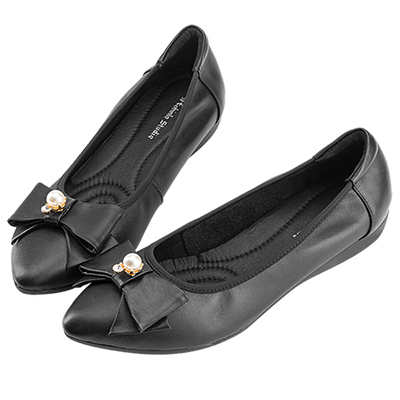Robinlo甜美浪漫蝴蝶結珍珠飾扣尖頭平底鞋 黑