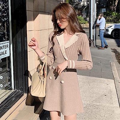 DABI 韓國風西裝V領雙排釦優雅顯瘦修身長袖洋裝