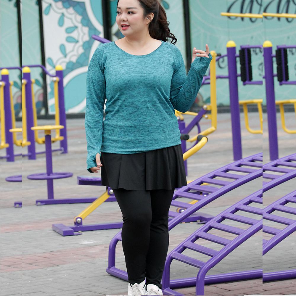 娜美自然假二件式裙式運動褲(單褲2-4XL) 狐狸姬