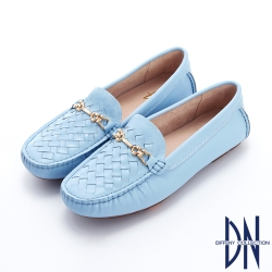 DN樂福鞋_金屬馬銜扣牛皮編織平底樂福鞋-藍