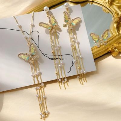 I.Dear飾品-韓國甜美網紅款蝴蝶珍珠水鑽流蘇925銀針耳環項鍊兩件套組
