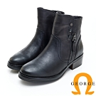 GEORGE 喬治皮鞋 素面拼接拉鍊平底短筒靴-黑色