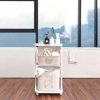 【Mr.box】雙向取物二層洗衣分類收納籃-附輪