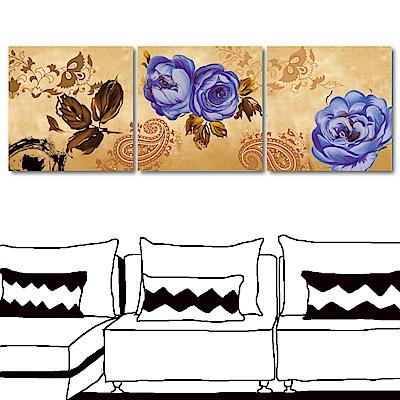 24mama掛畫 三聯式無框畫-藍玫瑰50x50cm