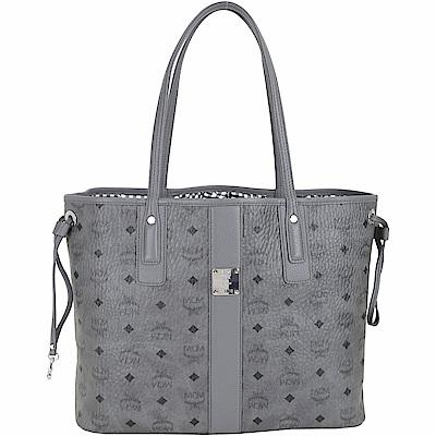 MCM Liz Visetos 中款 品牌塗層附萬用包雙面用購物包(灰色)