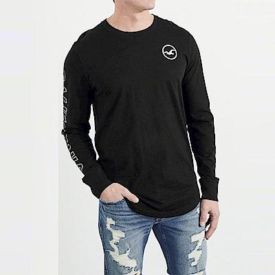 海鷗 Hollister 經典文字印刷設計長袖T恤-黑色
