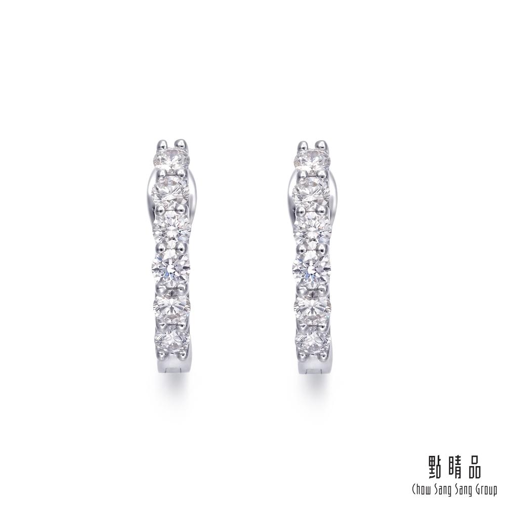 點睛品 24分 璀璨弦月 18K金鑽石耳環