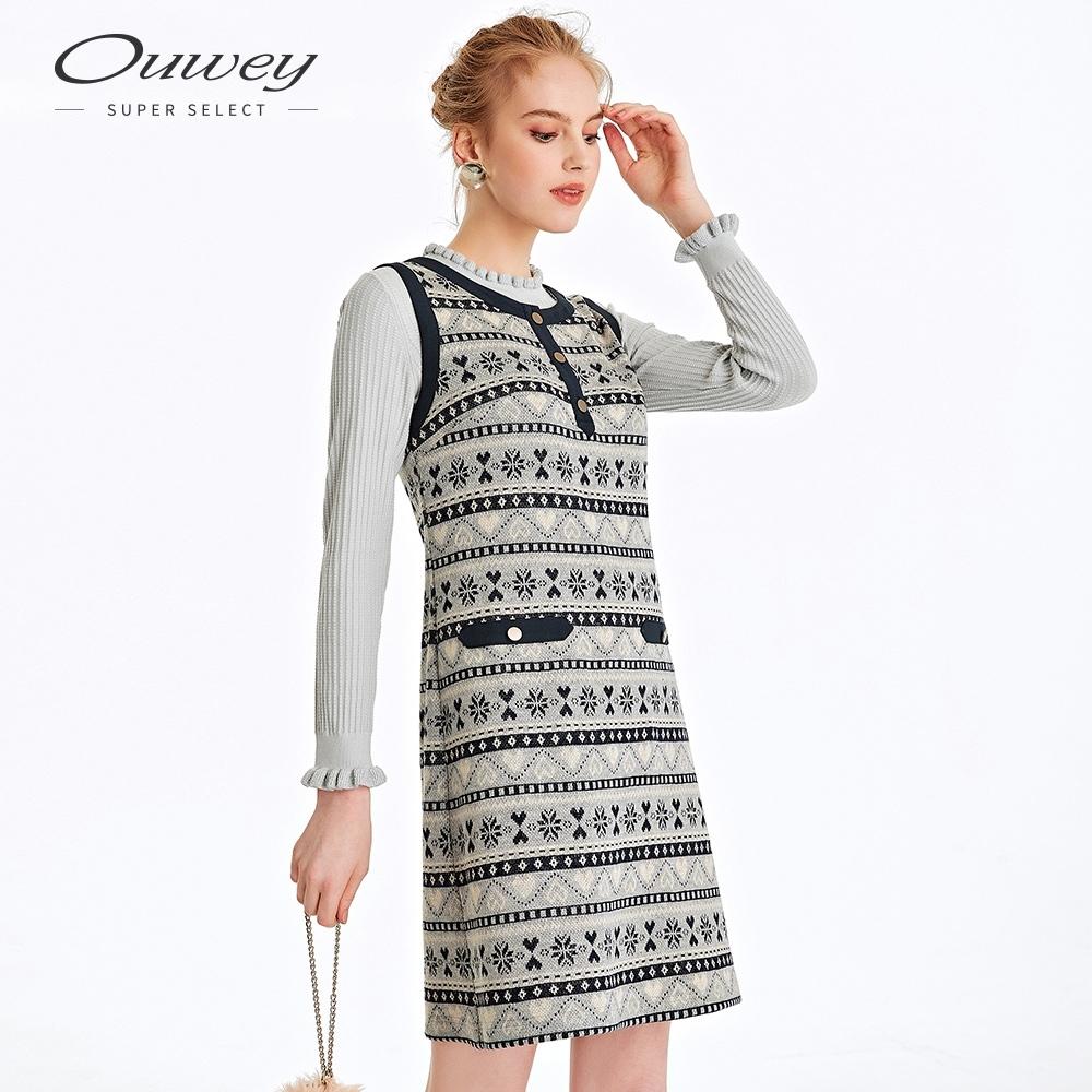 OUWEY歐薇 雪花緹花造型背心洋裝(灰)