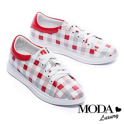 休閒鞋 MODA Luxury 經典格紋拼接全真皮厚底休閒鞋-紅
