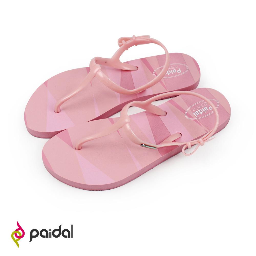 Paidal 鏡花同色彩紋T字涼鞋海灘涼鞋-桃粉