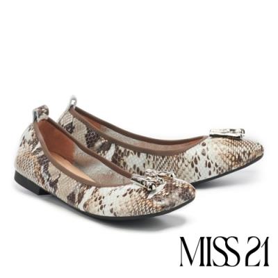 低跟鞋 MISS 21 都會時髦小氣質抓皺方頭低跟鞋-蛇紋