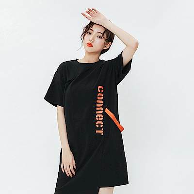 H:CONNECT 韓國品牌 女裝-不規則造型休閒洋裝-黑