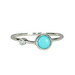 Pura Vida 美國手工 綠松石鑲鋯純銀戒指