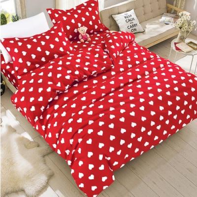 A-one 雪紡棉 雙人床包/枕套 三件組-愛心滿滿