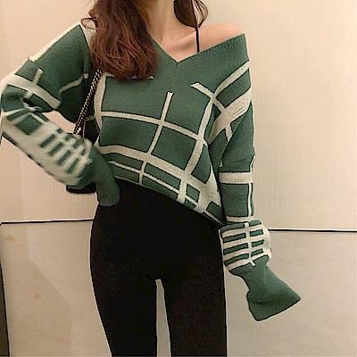 DABI 韓國風保暖幾何條紋毛衣長袖上衣 @ Y!購物