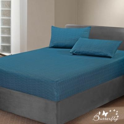 BUTTERFLY-台製40支紗純棉-薄式加大雙人床包枕套三件組-方程式-藍