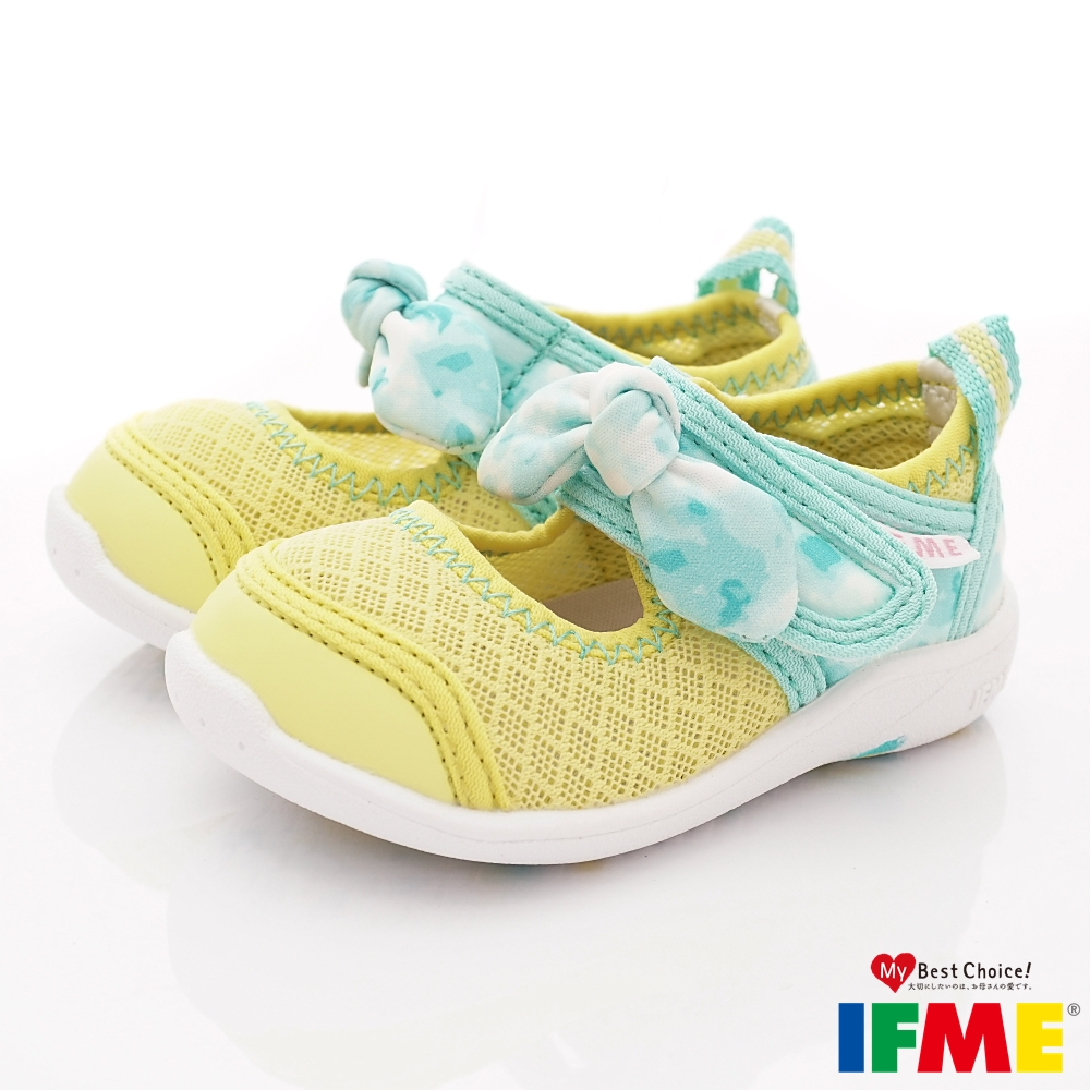 IFME健康機能鞋 蝴蝶結排水款 NI00603黃(寶寶段)