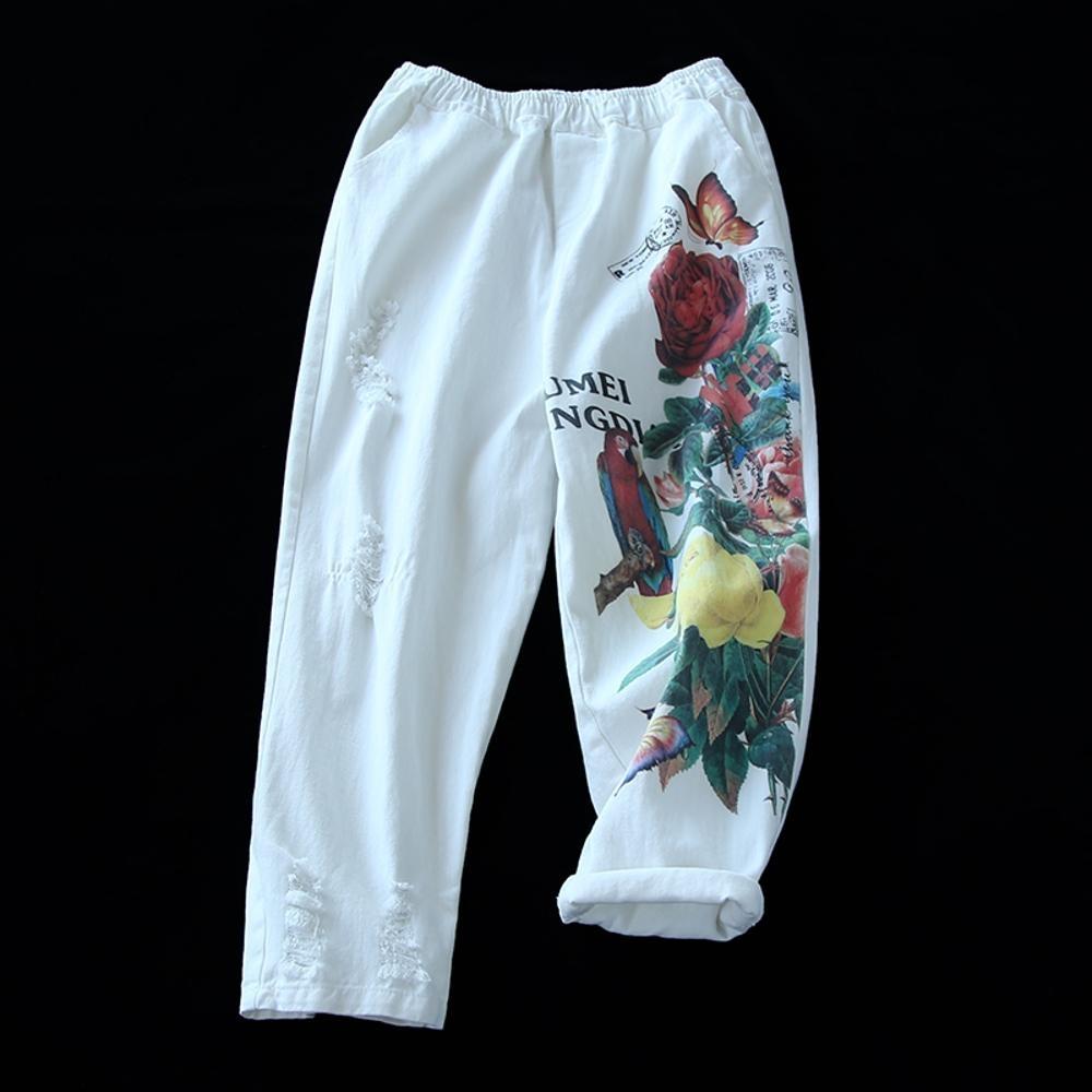 寬鬆破洞印花休閒顯瘦哈倫九分褲-設計所在