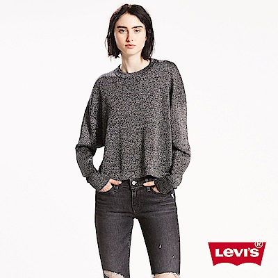 Levis 針織毛衣 女裝 羊毛 短版 落肩設計 氣質銀黑
