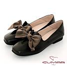 【CUMAR】極簡生活蝴蝶結裝飾皺褶平底鞋-黑色