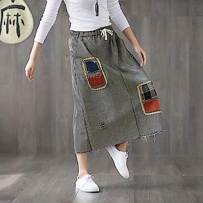 條紋貼布不收邊鬆緊半身裙L-XL-Keer