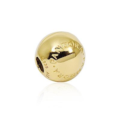 Pandora 潘朵拉 18k金PANDORA標誌圓珠 夾扣純銀墜飾 串珠