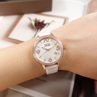 NATURALLY JOJO / 珍珠母貝 日期 晶鑽時尚 陶瓷手錶-白x玫瑰金框/34mm