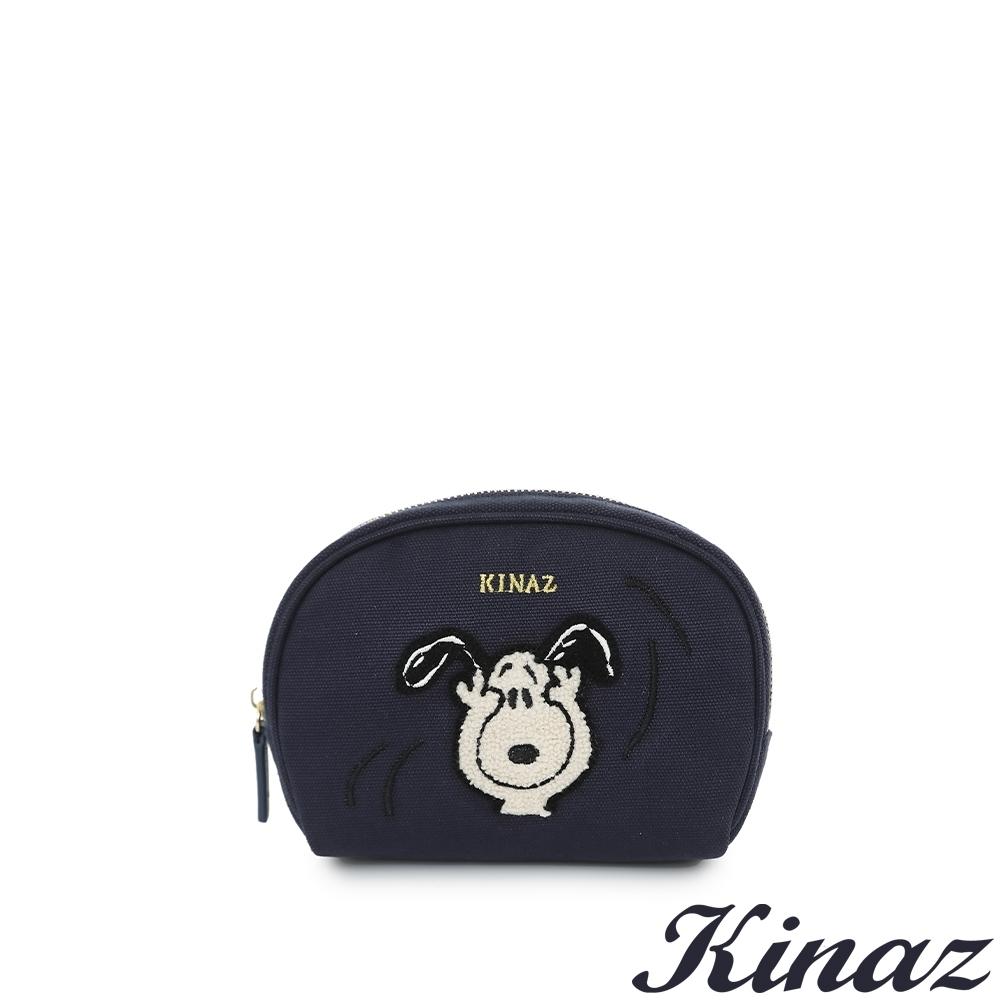 KINAZ SNOOPY聯名款 多隔層毛絨絨史努比萬用化妝包-默契經典藍-Friends氧氣小物系列