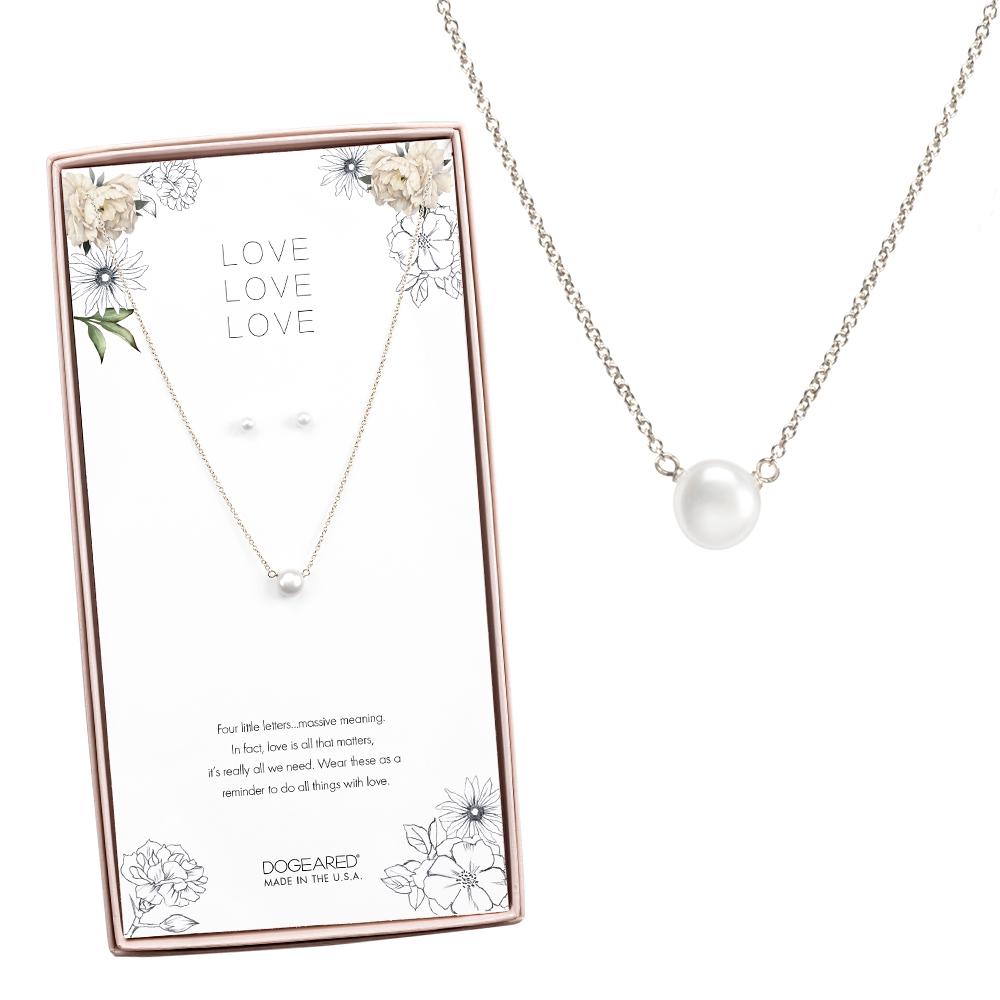 Dogeared 美國品牌 小白珍珠銀色許願項鍊與耳環組合