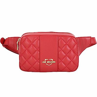 LOVE MOSCHINO 菱格衍縫皮革方型胸肩/腰包(紅色)