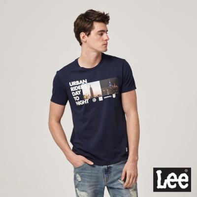 Lee短袖T恤 Day to Night照片印刷圓領-藍-男