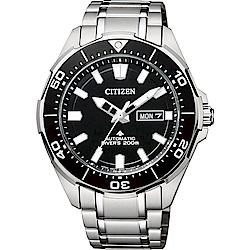 CITIZEN 星辰 PROMASTER 限量鈦200米潛水機械錶-黑x銀/43.5mm(