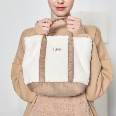 Lee 小LOGO羊羔絨手提包-米白色