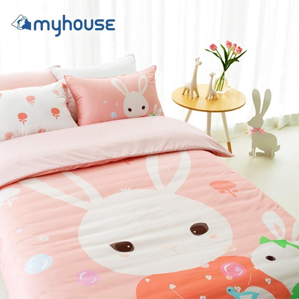 【myhouse】韓國超細纖維兩件式四季枕被組 -兔寶家族