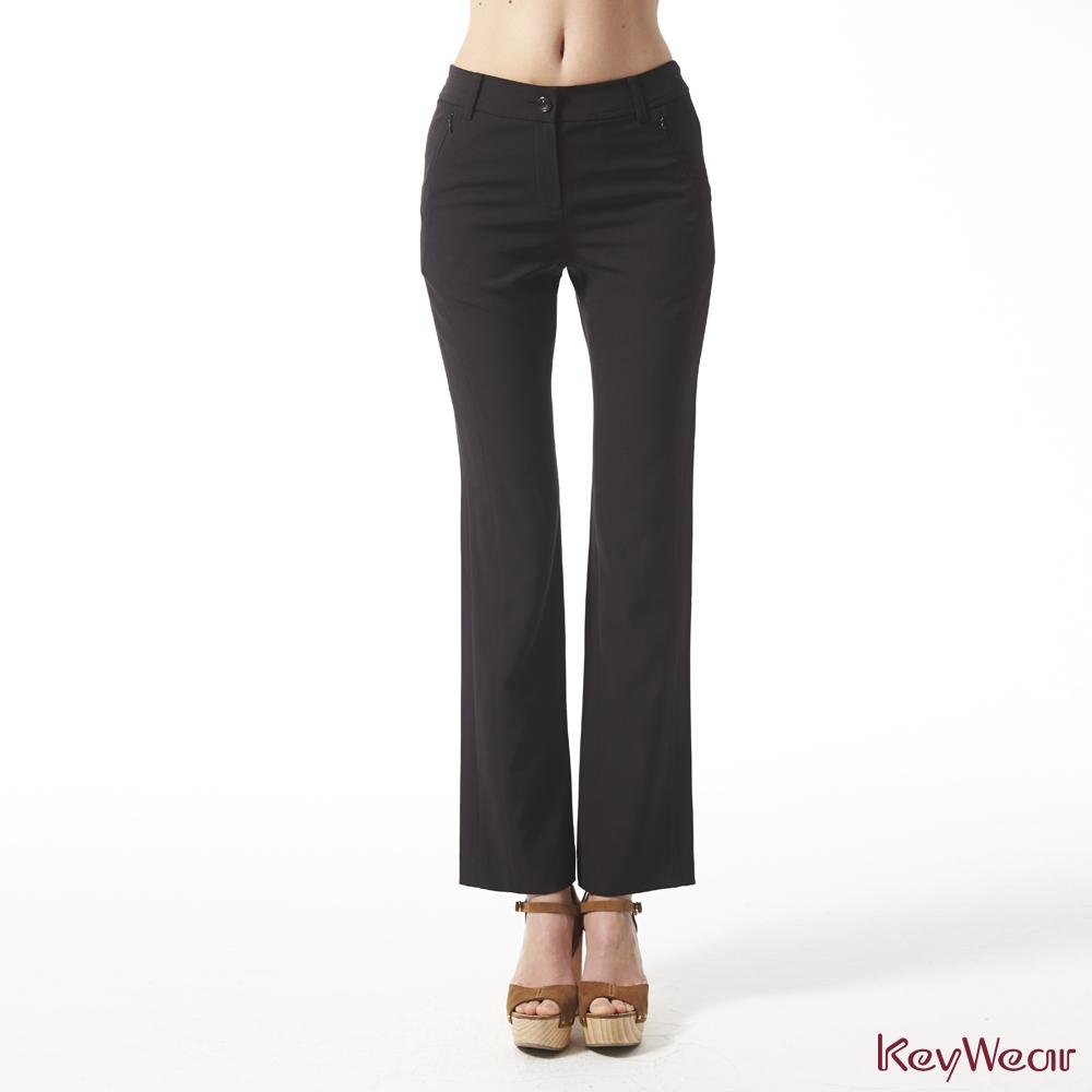 KeyWear奇威名品    MIT特殊剪裁飄逸質感修身直筒長褲-黑色