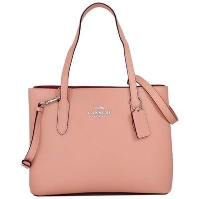 COACH粉紅色全皮側釦式雙層肩背/斜背托特包
