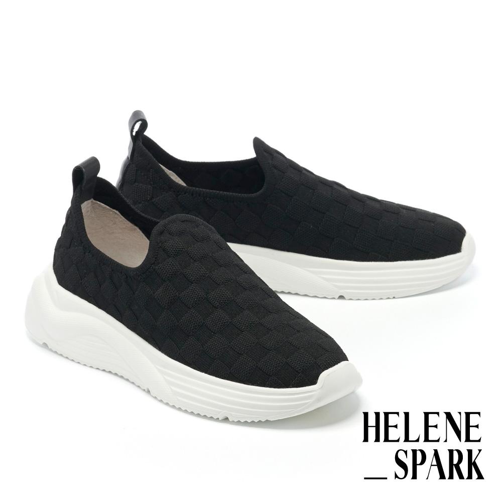 休閒鞋 HELENE SPARK 百搭實穿飛織布厚底休閒鞋-黑