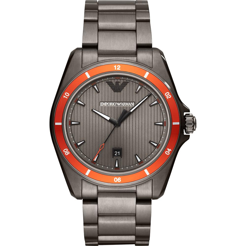 Emporio Armani 亞曼尼 都會時尚手錶-灰x橘圈/44mm