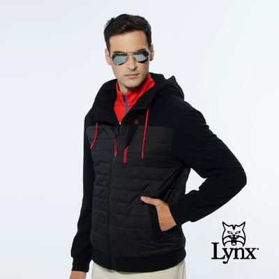 【Lynx Golf】男款保暖防風鋪棉格紋剪接胸袋款長袖連帽外套-黑色