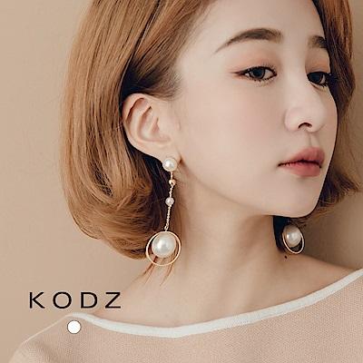 東京著衣-KODZ 復古氣質珍珠金屬垂墜耳環(共一色)