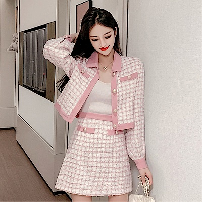 DABI 韓系寬鬆短版夾克毛呢格紋短裙套裝長袖裙裝