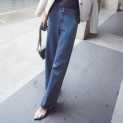 視覺纖長寬版高腰設計直筒牛仔寬褲-OB大尺碼